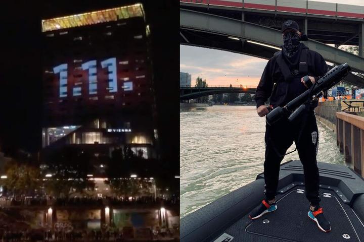 Die Rapper feuerten Promoartikel mit T-Shirt-Kanonen auf die Fans am Ufer - später wurde das Release-Datum an einer Hauswand enthüllt.