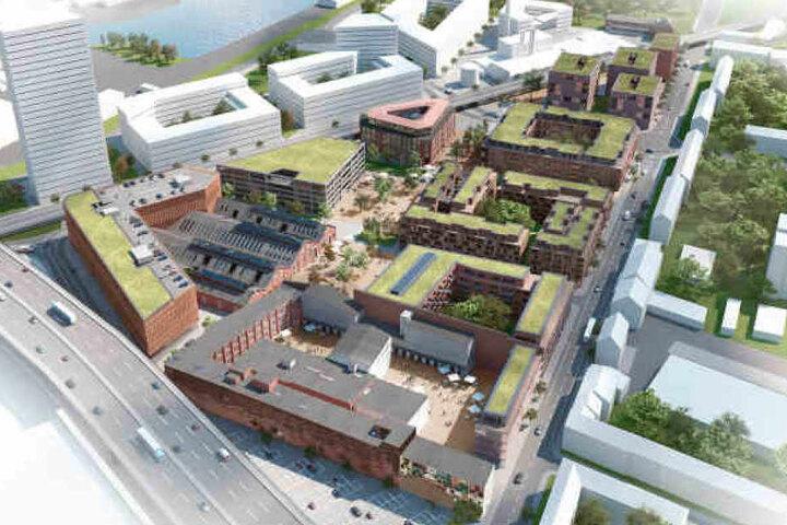 Eine Visualisierung zeigt das Areal des Projekts Coloneo I, im Hintergrund die mögliche Gestaltung des Wohnareals Coloneo II.