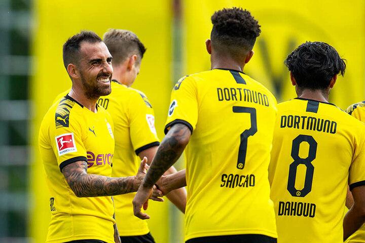 Torschützen unter sich. Paco Alcacer und Jadon Sancho erzielten gemeinsam fünf der sechs Treffer im Zürich-Test.