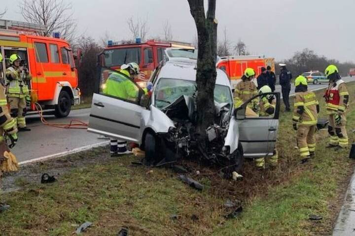 Der Fahrer knallte mit seinem Wagen frontal gegen einen Baum.