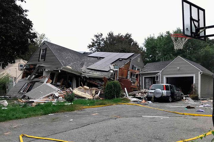 Diese Haus wurde durch eine Explosion komplett zerstört.