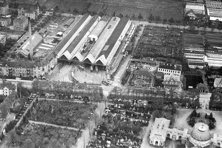 Luftaufnahme von 1927: Im ehemaligen Tolkewitzer Straßenbahndepot ist heute nichts mehr, wie es mal war.