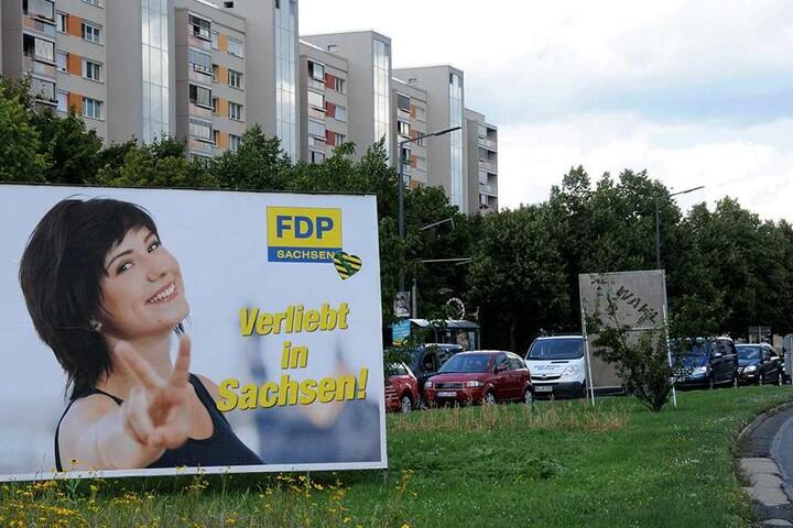 """""""Verliebt in Sachsen"""": Auch dieses Motiv, allerdings in Plakat-Form, wurde illegal aufgehängt."""