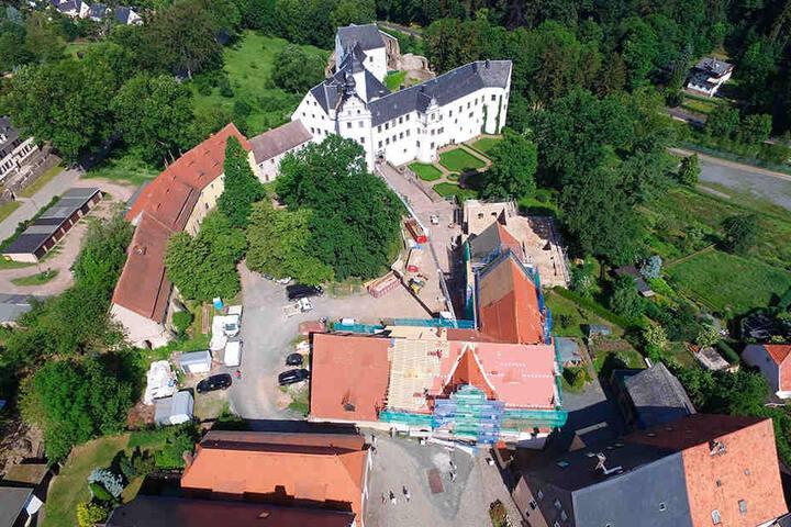 Schloss Lauenstein aus der Vogelperspektive.