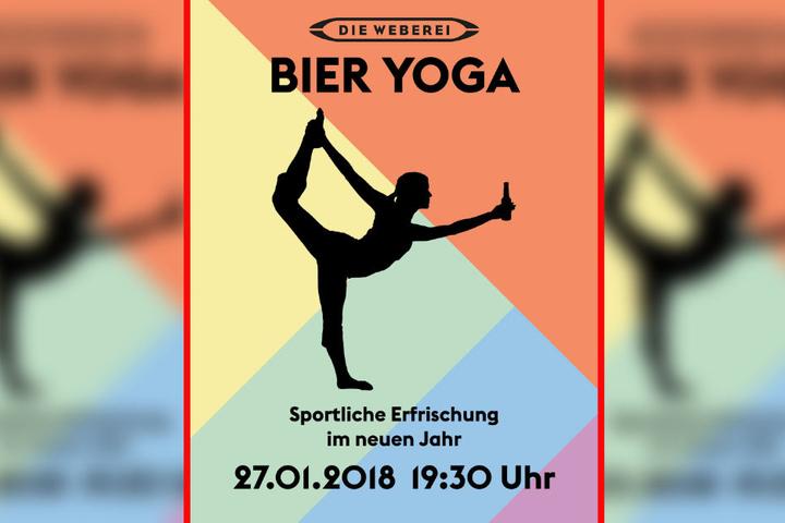 Der perfekte Ausklang der Woche: Sport und Bier trinken beim Bier Yoga.