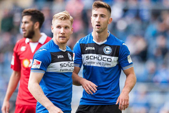 Der 23-Jährige Andraz Sporar (r.) könnte auch Andreas Voglsammer (25) auf die Bank verbannen.