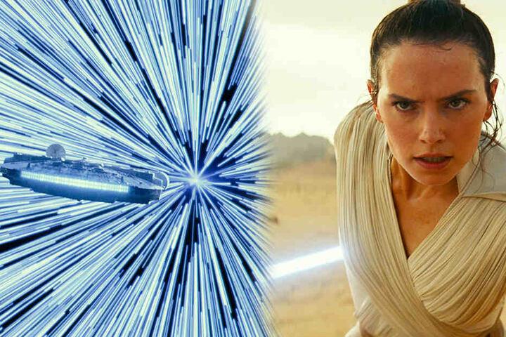 """Rey (Daisy Ridley) stehen einige Kämpfe bevor. Auch der Millenium-Falke wird in """"The Rise of Skywalker"""" wieder zu sehen sein. (Bildmontage)"""