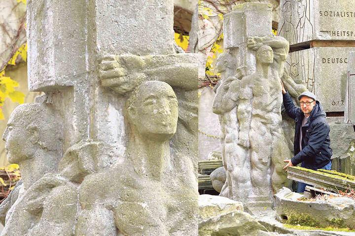 Mathias Körner (40) zeigt die Bauarbeiter-Skulptur, die noch im Lapidarium in der Südvorstadt liegt.