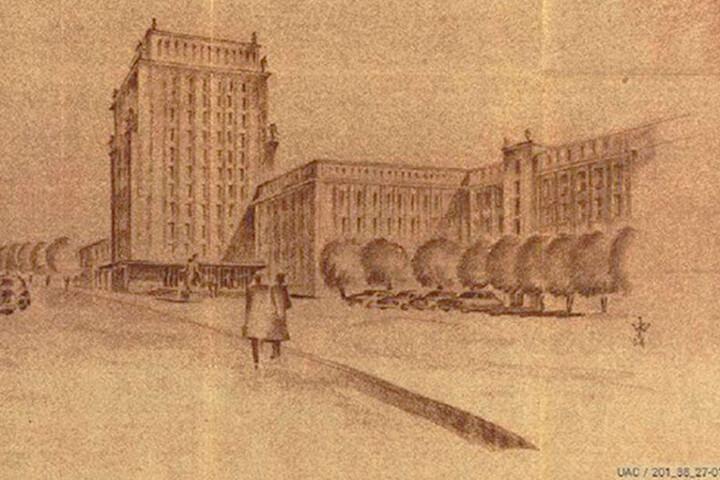 Der Turm sollte Sitz des Rektors und der Bibliothek werden. Hinten rechts  sieht man das geplante Stadion.