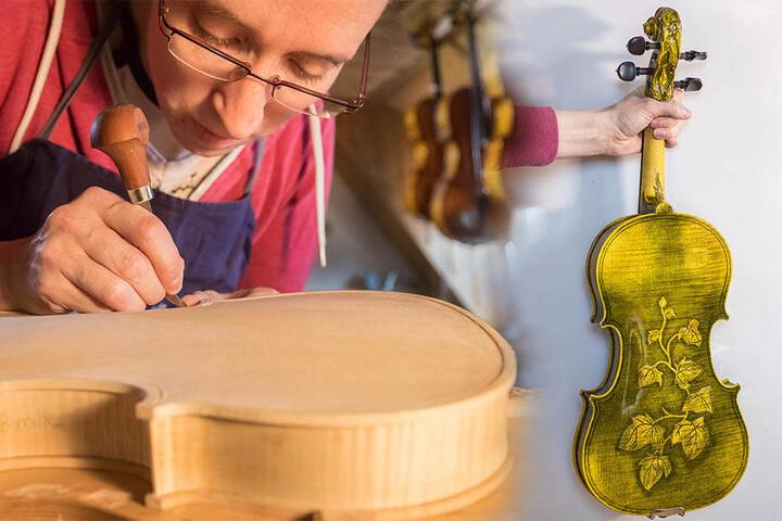 An dieser Efeu-Geige arbeitete die Wahl-Vogtländerin ein halbes Jahr. Für 6500 Euro wurde sie nun verkauft.