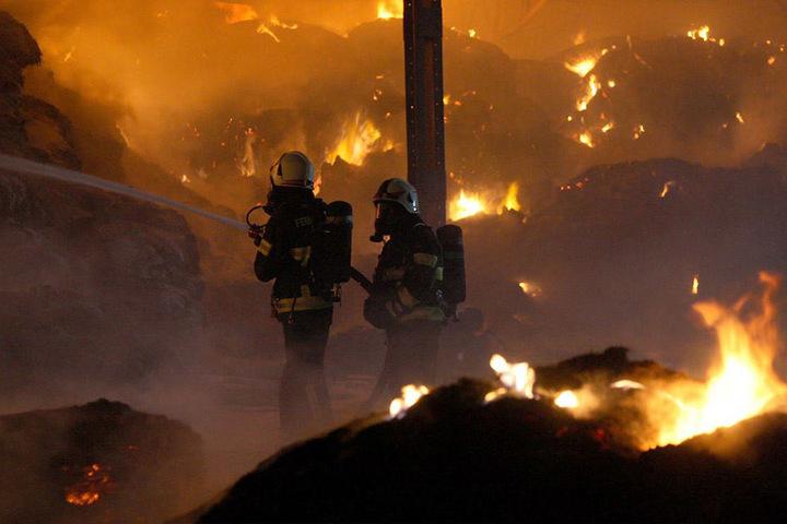 Die enorme Höhe der Flammen und die enorme Hitze machte den Feuerwehrleuten zu schaffen.