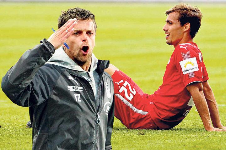 Sinan Terkerci sollte sich gegen Regensburg anbieten - tat er nicht. Nach 45 Minuten war schon wieder Schluss. Trainer Torsten Ziegner (li.) zählte ihn an.