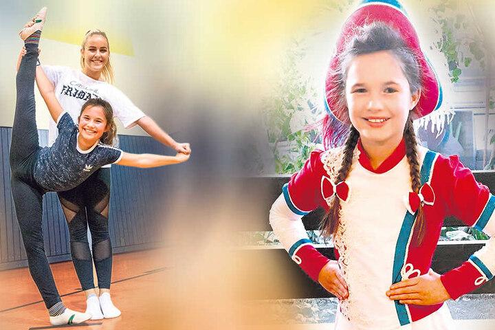 Spannung halten: Samira Gretchen Herde (11) mit ihrem Vorgänger-Tanzmariechen Jasmin Wendt (21).
