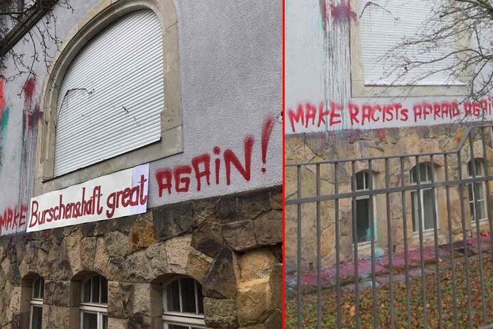 Auf die Parolen der Linksradikalen (Bild rechts) hat die Burschenschaft bereits mit einem Banner reagiert.