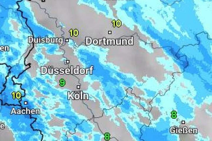 Der Blick auf die Wetterlage im südlichen Nordrhein-Westfalen am Freitagmorgen.