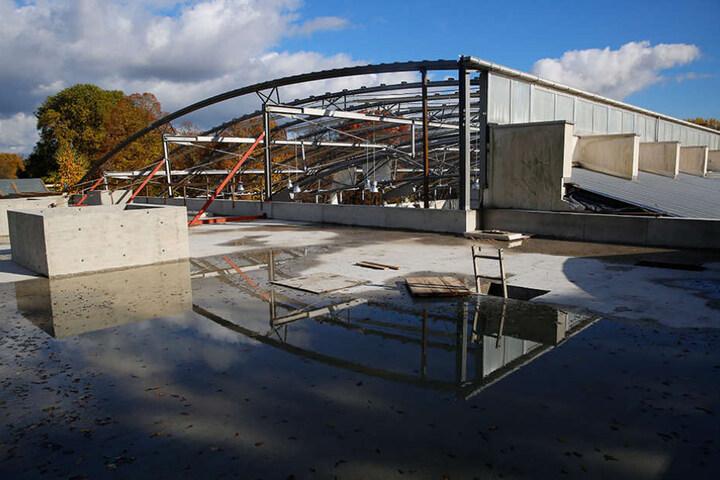 Zwei 30 Meter lange Stahlträger spannen sich über die gesamte Breite des  neuen Domizils.