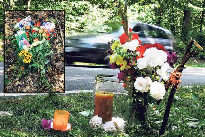 Julias Freunde haben an der Unfallstelle Blumen und Fotos niedergelegt.