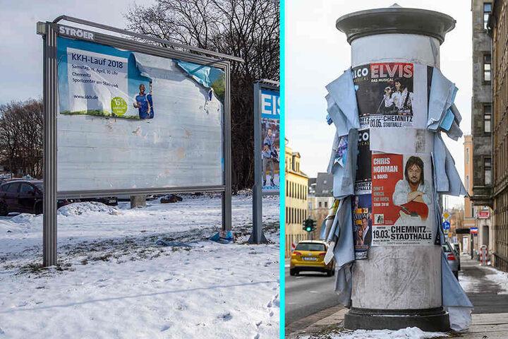 Eine Plakatwand am Eissportzentrum und eine Litfaßäule an der Leipziger Straße: Die Werbung ist uralt und die Plakate hängen herunter: