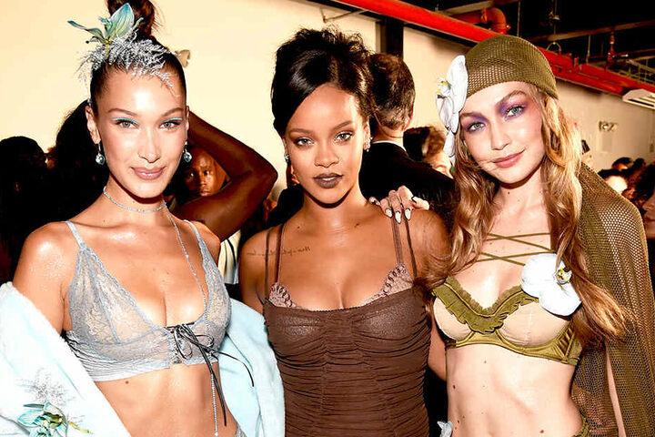Rihanna (30) engagierte für ihre Show unter anderem die beiden Topmodels Bella (21, l.) und Gigi Hadid (23, r.).