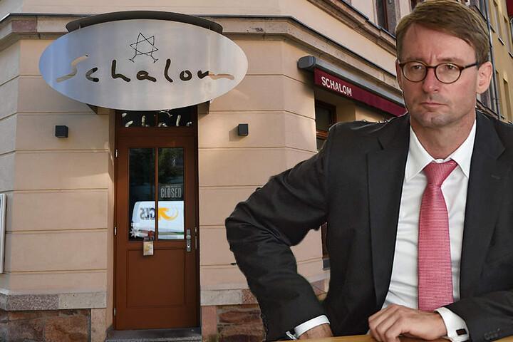 """Innenminister Roland Wöller (48, CDU) hat sich mit dem Wirt des """"Schalom"""" getroffen."""