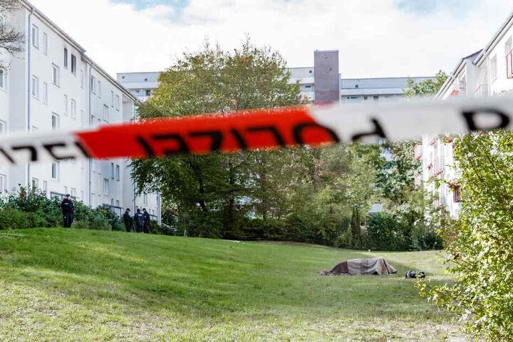 Der Leichnam eines 50 jährigen Behördenmitarbeiters liegt unter einer Decke auf dem Rasen vor einem Mehrfamilienhaus.