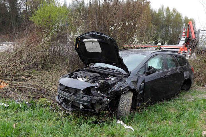 Der Opel kam erst in dem Gebüsch zum Stehen.