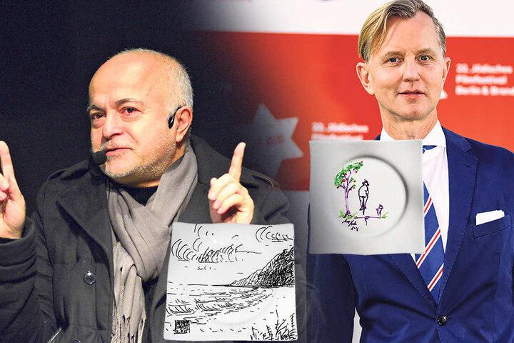 Einen Radausflug mit Hund zeichnete Sänger Max Raabe (53, re.) auf den Teller.Eine Küstenlandschaft skizzierte Yadegar Asisi(61) auf seinen Teller.