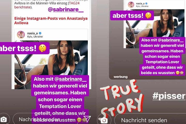 Die Montage zeigt Screenshots von den beiden Instagram-Storys von Sabrina und Anastasiya.