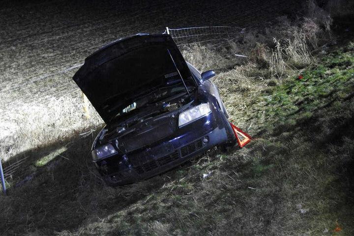 Unten angekommen, riss der Wagen einen Teil des Wildzauns um.