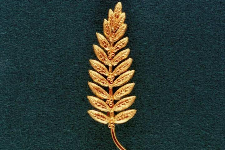 Eine Kopie des vergoldeten Olivenzweigs, der auf dem Mond als Friedenssymbol hinterlassen wurde.