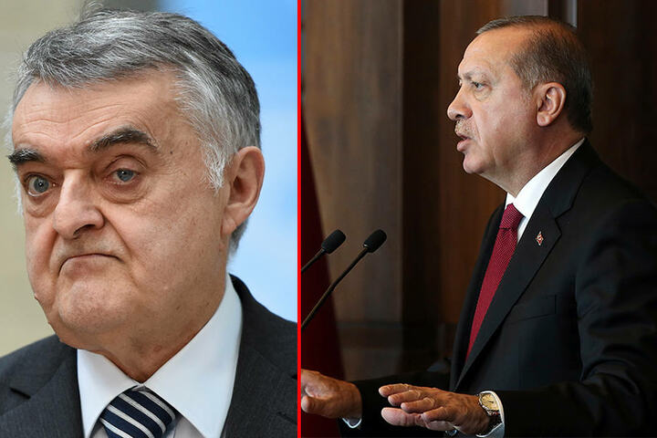 Links NRW-Innenminister Herbert Reul (CDU). Rechts der türkische Präsident Recep Tyyip Erdogan.