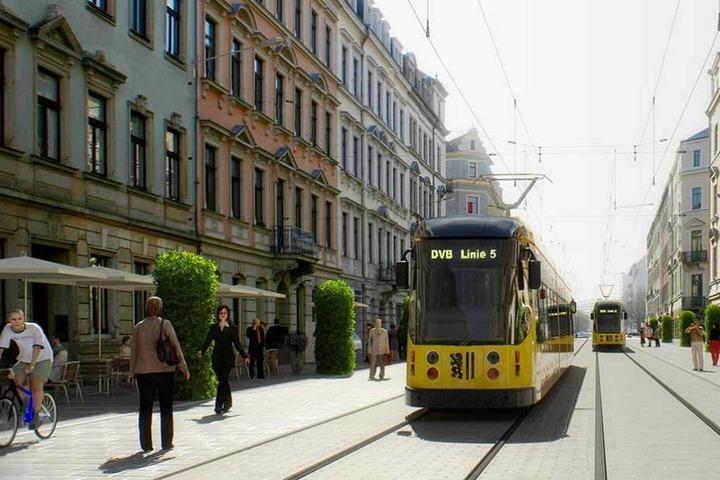 """So könnte die """"5"""" auf Höhe der Hertelstraße durch die Pfotenhauer Straße fahren."""