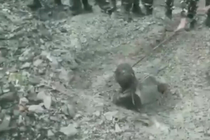 Die Soldaten gruben den Verletzten aus.