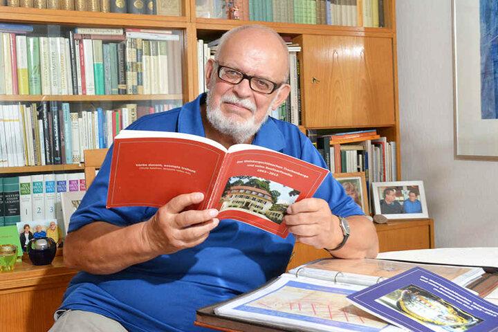 Hobbyhistoriker Uwe Meyer-Clasen (77). Der frühere Ingenieur hat sich auf Trachenberge und Pieschen spezialisiert.