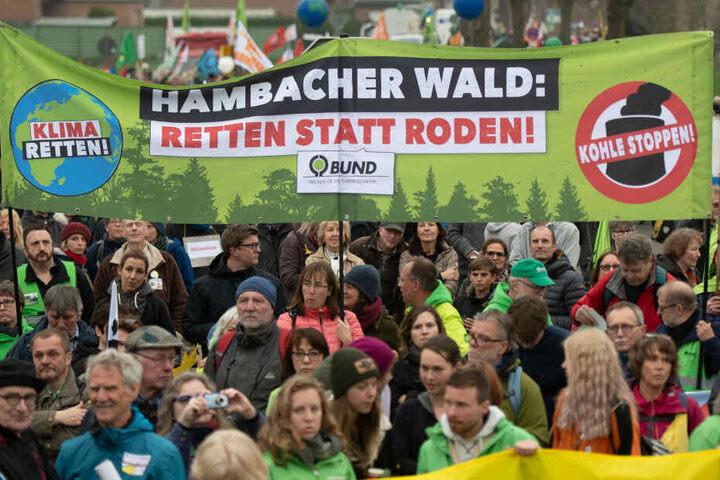 Die Leute setzen sich für eine Rettung des Hambacher Forsts ein.