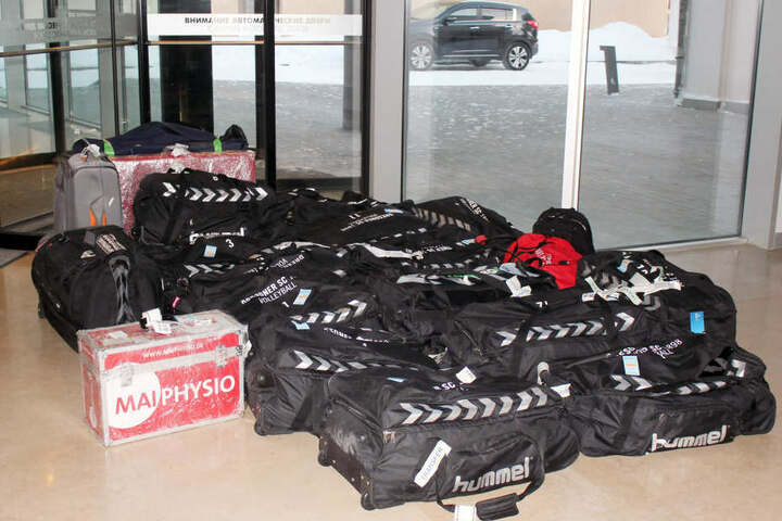 Einiges des vermissten Gepäcks in der Hotel-Lobby.