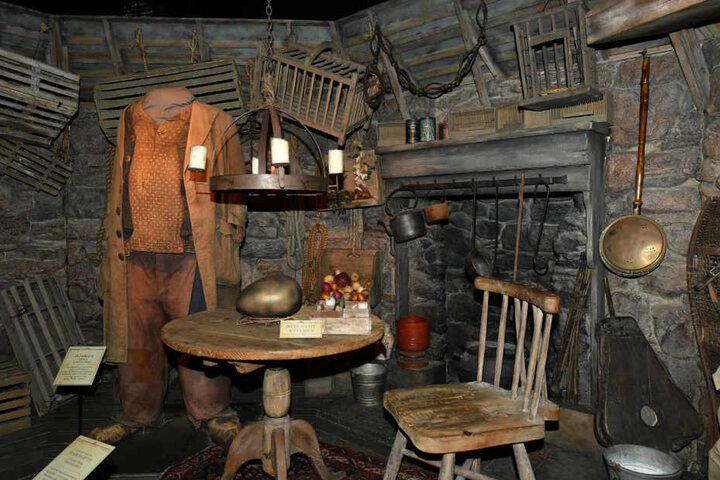 Das Set von Hagrids Hütte wird in der Harry Potter Ausstellung gezeigt.
