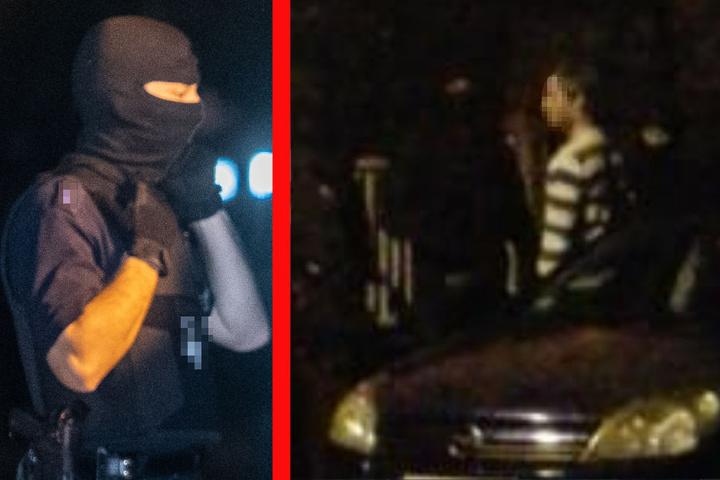 Eine LebEL-Einheit der Polizei (links, Symbolbild) durchsuchte einen Mann (r.).