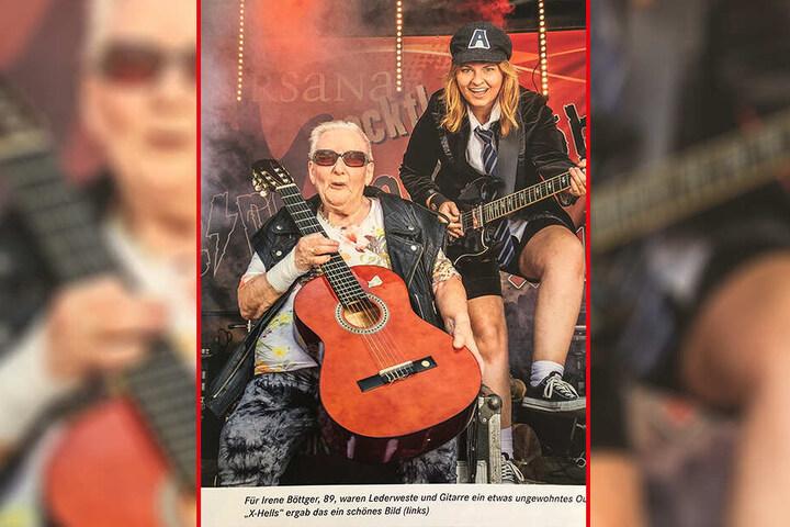 Schafften es auf dem Cover des Kursana-Magazins: Irene Böttger (90) und AC/DC-Rockerin Alexa Tannert (23).