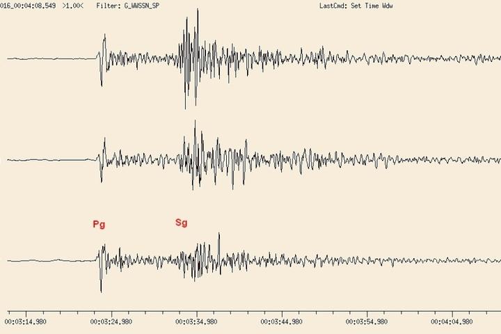 Die Ausschläge des Erdbebens sind deutlich zu sehen.