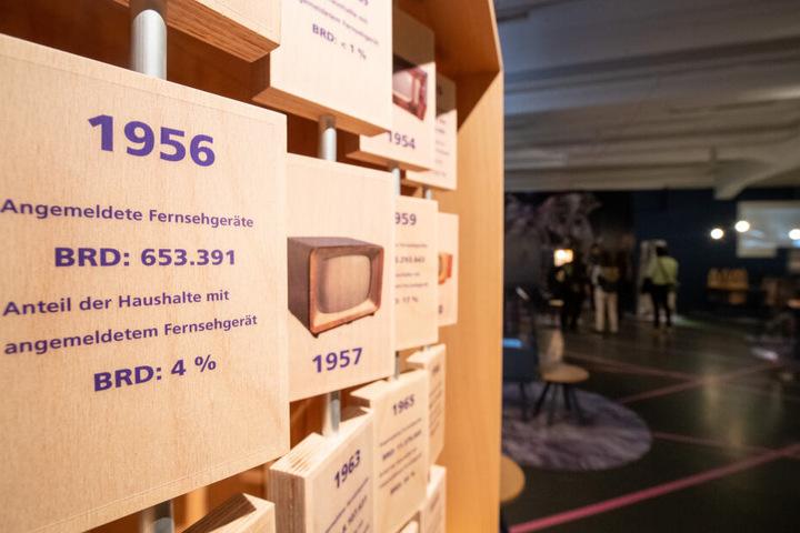 Eine Installation der Ausstellung in Nürnberg informiert über die Verbreitung des Fernsehens von 1952 bis 1972.