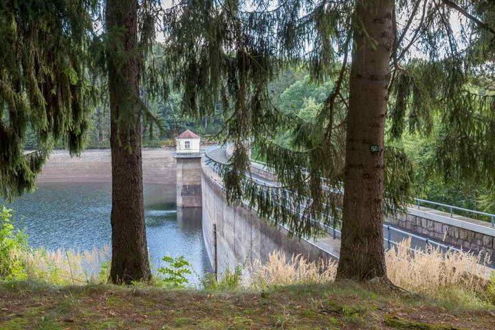 Wasserspeicher in idyllischer Natur: Über die Talsperre Einsiedel fließt frisches Rohwasser nach Chemnitz. Die Stadt verbraucht täglich 33.000 Kubikmeter.