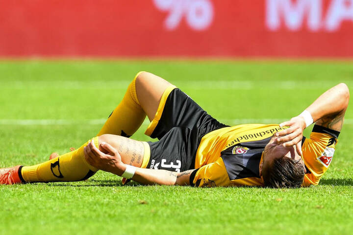 Sein bitterster Dynamo-Moment: Pascal Testroet reißt sich am 30. Juli 2017 im Zweitliga-Spiel gegen dem MSV Duisburg das Kreuzband.