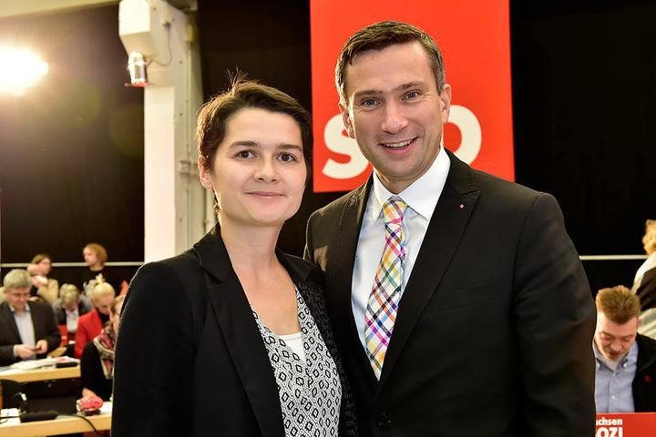 Freuen sich über neue Mitglieder in der Sachsen-SPD: Generalsekretärin Daniela Kolbe (37) und Parteichef Martin Dulig (43).