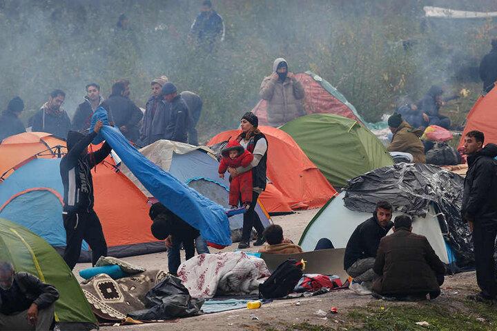 Migranten zelten am Grenzübergang von Maljevac zwischen Bosnien-Herzegowina und Kroatien.
