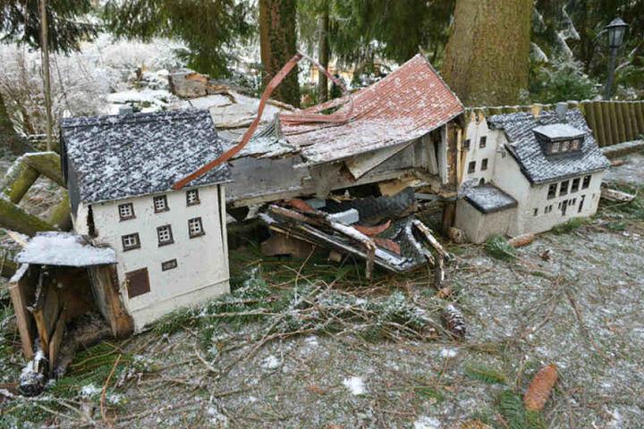 """Traurige Bilder im """"Klein-Erzgebirge"""": Umstürzende Bäume zerstörten die liebevoll gebastelten Modelle."""