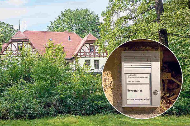 Bis 2010 nutzte die TU Dresden das Gebäude, das Klingelschild hängt noch  heute.