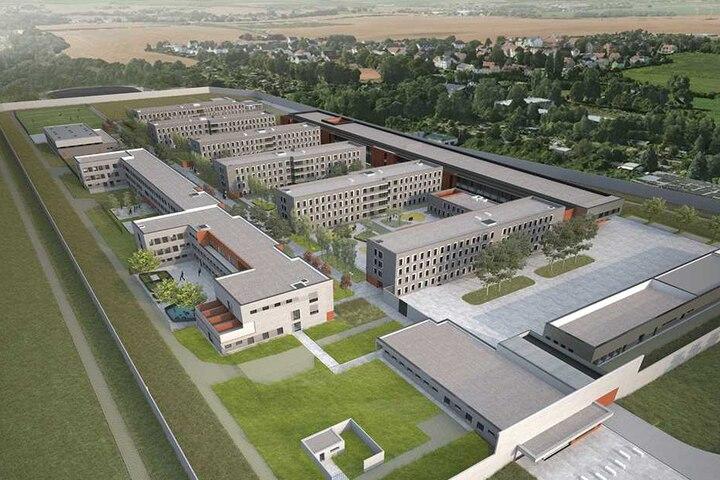 Der neue Knast in Zwickau-Marienthal aus der Vogelperspektive.