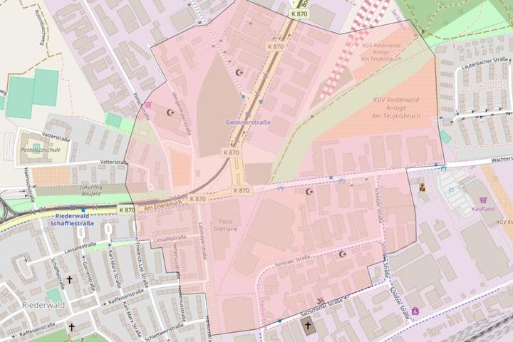 Wohnungen im rot markierten Bereich sollen aufgrund des Bomben-Funds evakuiert werden.