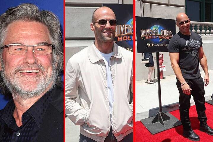 Wer ist hier das Weichei? Kurt Russel (65, l.), Jason Statham (49, m.) oder vielleicht doch Vin Diesel (49, r.)?